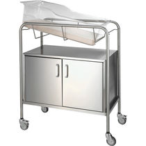 Culla pediatrica con rotelle / trasparente / in acciaio inossidabile