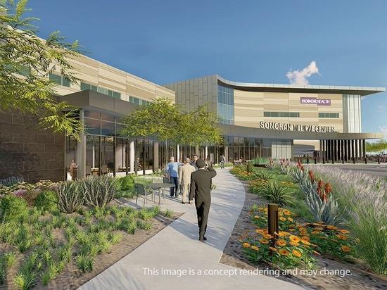 Il terreno preparato ospedale del centro medico di HonorHealth Sonoran sul nuovo a Phoenix del nord