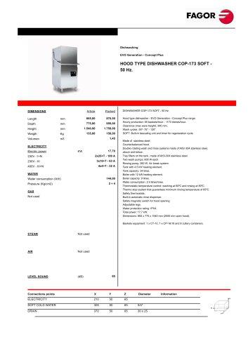 HOOD TYPE DISH WASHER COP -173 SOFT -  50 Hz.