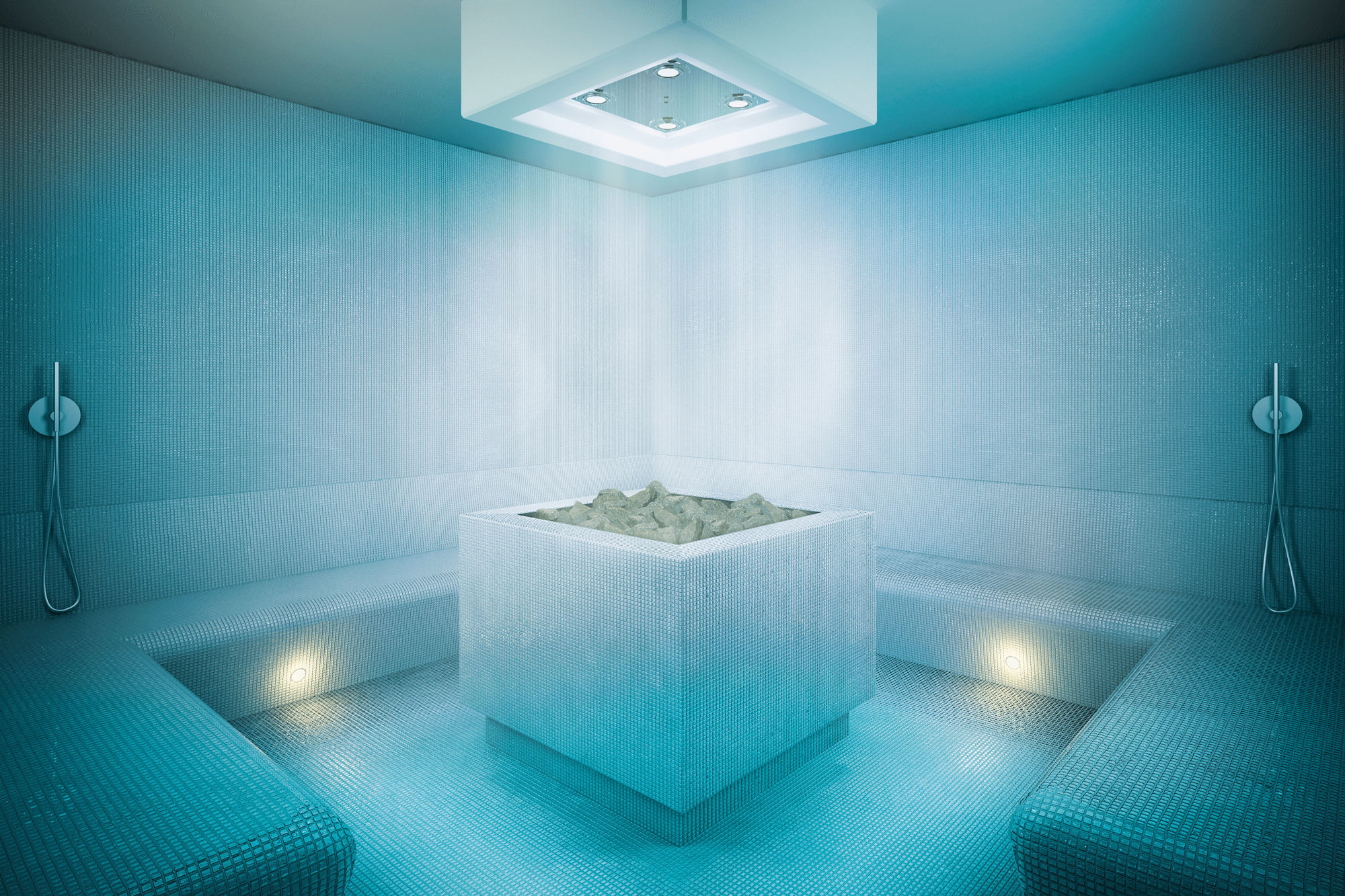 Sauna A Vapore.Hammam Sala Con Generatore Di Vapore Per Pietre Da Sauna