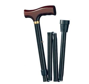 bastone da passeggio classico / con impugnatura a T / ad altezza variabile / pieghevole