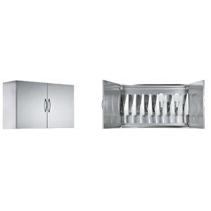 armadio per ospedale / 2 porte / a muro / in acciaio inossidabile