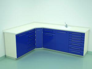 banco da laboratorio odontoiatrico / per sterilizzazione / con lavandino / d'angolo