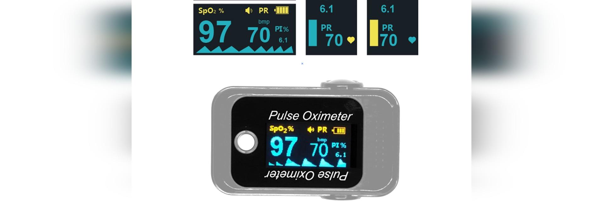 Spo2 , frequenza cardiaca e PI monitorati da pulsossimetro a quattro vie a dito