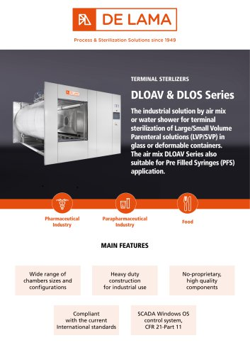 De Lama: DLOAV - DLOS Air/Steam mixture and Superheated water autoclaves
