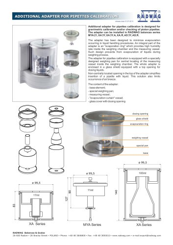 ADDITIONAL ADAPTER FOR PIPETTES CALIBRATION