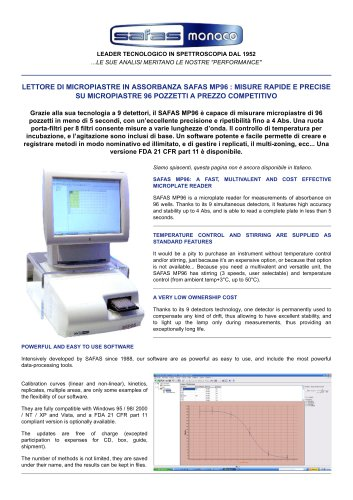 LETTORE DI MICROPIASTRE IN ASSORBANZA SAFAS MP96
