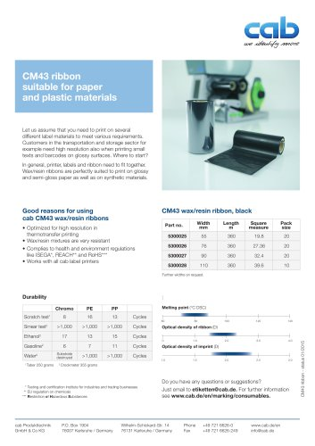 CW43 ribbon suitable for paper materials