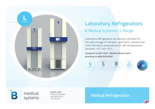 B Medical Systems Laboratory Refrigerators