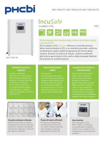 MCO-170AIC-PE Incubatori a CO2