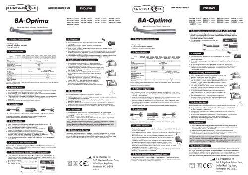 BA-Optima Dental High- Speed Handpiece Opération Manual