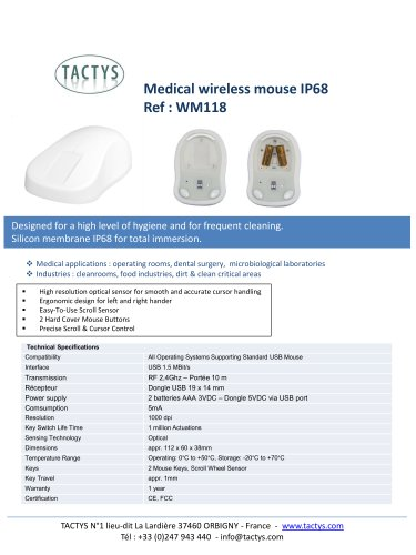 Wireless medical mouse IP68 - WM118