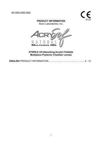 AcrySof® ReSTOR® Apodized Diffractive Aspheric  (IOL)