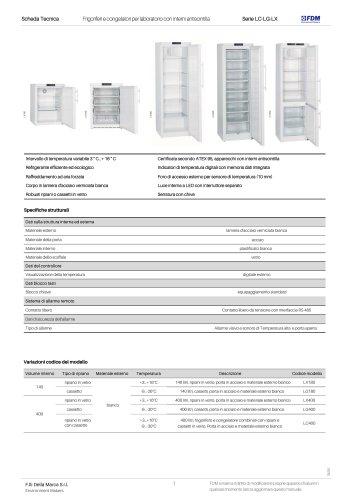 Frigoriferi e congelatori per laboratorio con interni antiscintilla Serie LC-LG-LX
