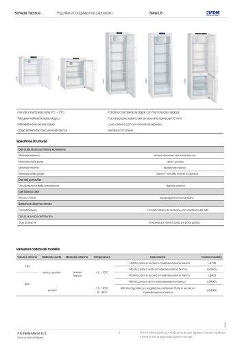 Frigoriferi e Congelatori da Laboratorio Serie LB