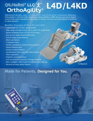 OrthoAgility L4D/L4KD Knee/Hip/Ankle CPM Specification Brochure